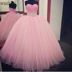 dd87f6e6f3 Różowa Suknia Balowa Quinceanera Suknie 2017 Paciorkami vestidos de 15 anos  Tanie Słodkie 16 Suknie Debiutant Suknie Sukienka Dla 15 lat
