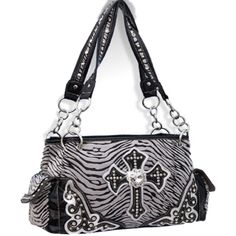 Handbags, Bling & More! Silver Zebra Print Cross Purse with Rhinestones : Western Style Cross Purses