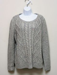 Sonoma Life + Style Gray Crewneck Cable Knit Sweater Size Large #Sonoma #Crewneck