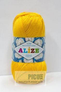 Poze Fir de tricotat sau crosetat - Fir BUMBAC 100% ALIZE MISS GALBEN 216 Beanie, Fire, Coil Out, Ganchillo, Hipster Stuff, Beanies, Beret