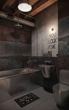 Rustic But Modern Toilet  Home Ideas  Pinterest  Dark Interiors Impressive Loft Bathroom Designs Design Ideas