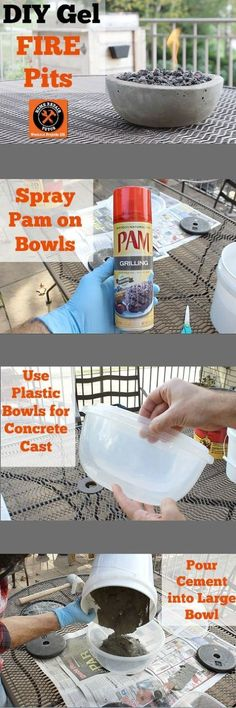 Would be fun to make and let grandkids decorate for planters.... Like the idea of using PAM to spray the plastic bowl before making the concrete cast