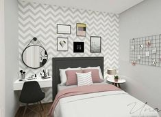 Pin by Sydney on New room ideas in 2019 Girl Bedroom Designs, Room Ideas Bedroom, Small Room Bedroom, Bedroom Decor, Small Rooms, Decor Room, Trendy Bedroom, Chevron Room Decor, Spa Bedroom
