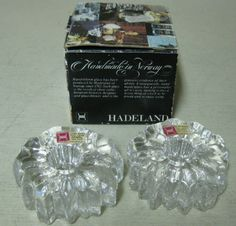 Collectible 2 Hadeland Norway Nautilus Hand Blown Crystal Candle Holders   eBay Constitution Day, Nautilus, Scandinavian Style, Norway, Sticks, Glass Art, Candle Holders, Perfume Bottles, Culture