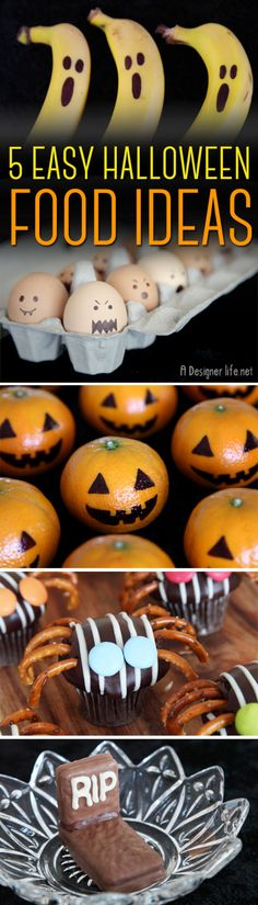 5 Easy Halloween Food Ideas - Boo-nanas, Mandarin Pumpkins, Ghost Eggs, Mini Cupcake Spiders, Tim Tam Tombstones | A Designer Life