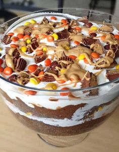 I love me a delicious trifle.. the mixture of cake, pudding, whipped cream and candy is the best of all worlds!! This trifle includes two of my favorite things.. peanut butter and chocolate. Turned out amazing!!