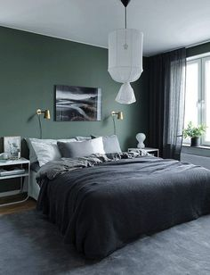 Moody Bedroom Green Walls - the Conspiracy - prekhome Modern Mens Bedroom, Modern Bedroom Decor, Home Bedroom, Bedroom Wall, Master Bedrooms, Green Rooms, Bedroom Green, Bedroom Colors, Green Walls