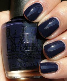 Deep navy blue nail polish