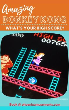 Retro Arcade Party - All Time Favorite - Donkey Kong. Amazing addition for any retro party! What's your high score? #ArcadeRoom #retropartyideas #retroarcade #DonkeyKong #ClassicArcades #partyplanners Donkey Kong Arcade Machine, Retro Arcade Games, Arcade Room, Retro Party, Some Games, The Donkey, First Game, Marvel Vs