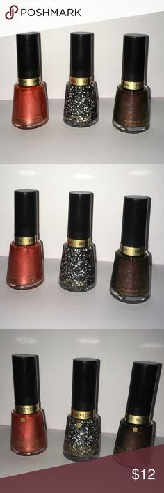 """3 Brand New Revlon Nail Enamel Nail Polishes. 3 New Revlon Nail Enamel Nail Polishes.  All 3 are brand new, never used / never opened.  Listing Includes 3 Different Sparkly Colors: •1-Uninhibited, #645. •1-Rebel Graffiti, #732. •1-Untamed, #934.  Bottles are all full size, 0.5 fl.oz. / 14.7 ml EACH.  """"Chip Defiant™ formula coats nails with, flawless application, in gorgeously smooth color. With ShadeLock™ Technology for fade-resistant wear. 64 striking shades to choose from."""" Revlon Makeup"""
