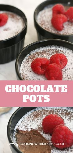 Chocolate pots are the best indulgent, chocolate dessert. You can make them ahead of time, making them perfect for dinner parties and special occasions. #de creme recipes #easy recipe #desserts #baking with kids #for kids #for toddlers #chocolate # Chocolate Pots, Chocolate Desserts, Baking With Kids, Toddler Fun, Dinner Parties, Baking Recipes, Toddlers, Biscuits, Muffins