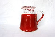 Red kitchen decor vintage French red pitcher by FrenchCountryLife, $38.00