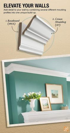 "Crown Moulding Build-Up Project. Create a more customized look for your crown moulding by simply combining various pieces of moulding into ""build-ups"". Click through for the instructions. Home Upgrades, Home Renovation, Home Remodeling, Kitchen Remodeling, Sweet Home, Moldings And Trim, Diy Décoration, Diy Crafts, Home And Deco"