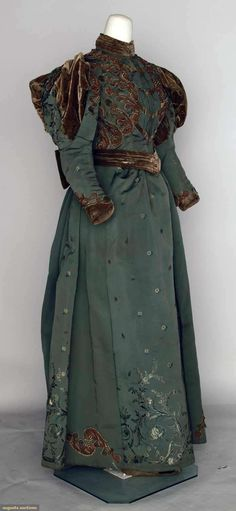 Sage Green Afternoon Gown, 1895; sumptuous two-piece silk jacquard, brown velvet and gold bead trim