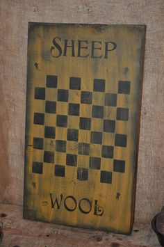 Ex Lg Mustard Wood Sign Sheep Wool Game Board Country Primitive Rustic Folk Art #NaivePrimitive