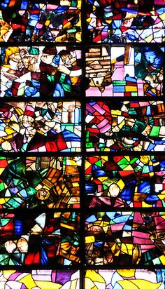 Modern Stained Glass Window inside the Cathedral of Santa María de Segovia Spain