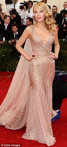 Elegant: Blake was one of the fashion high-points on a night given over o red carpet glamo...