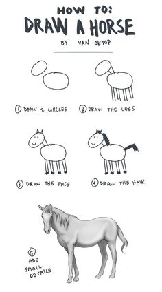 5 steps to drawing a horse. seriously, it always jumps to from 'oh, that's cute' to 'how the hell did you do that?'