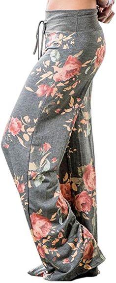 ea1c9841b5c Artfish Women Loose Baggy Yoga Long Pants Floral Printed Trousers (S