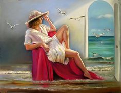 """Autora...  Caro Guarinos Técnica...  Pastel sobre canson 50x65 cm  Título...  """"Vistas al mar"""""""
