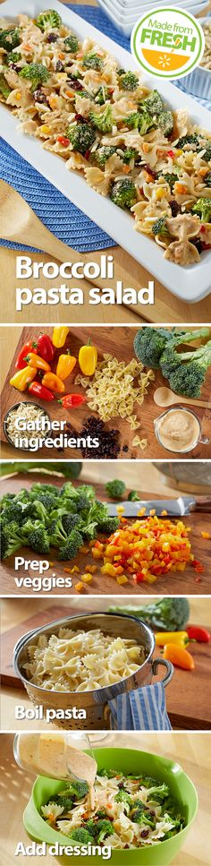 What happens when you mix fresh broccoli with crunchy red peppers, tart cranberries, and pasta in a cheesy, tangy dressing? This irresistible pasta salad! Find these fresh ingredients at your local Wa (Recetas Fitness Diet) Broccoli Pasta Salads, Fresh Broccoli, Pasta Recipes, Salad Recipes, Cooking Recipes, I Love Food, Good Food, Yummy Food, Tasty