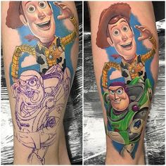 WEBSTA @ stencilstuff - To infinity and beyond! Buzz and Woody by @alex_rattray_ink! •#stencilstuff #tattoostencil #tattoostuff #tattooartists #toystory #buzzlightyear #pixar #disneytattoo #tattoooftheday #totd #movietattoos #disneyart #sheriffwoody #toystorytattoo #toinfinityandbeyond