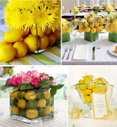 Love yellow and sort of love the idea of lemon's for centerpieces -- and SO much cheaper than flowers...