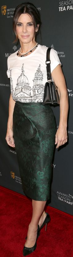 Sandra Bullock wearing Burberry Prorsum A/W14 Pre-Collection at the BAFTA award season tea party in LA