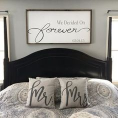 Large Wooden Sign / We Decided on Forever / Master bedroom Sign / Over the bed signs / personalized Sign / Wedding gift Rustic We are want to say thanks if you like to share this post to another people. Cozy Bedroom, Home Decor Bedroom, Modern Bedroom, Bedroom Wall, Bedroom Furniture, Bedroom Ideas, Decor Room, Bedroom Rustic, Pretty Bedroom