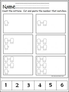 Free winter mitten number practice page for the numbers 1 to 6.  Great Pre-K and Kindergarten math activity.