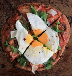 Grilled Pita Pizza with Prosciutto, Chanterelles, Arugula and a Fried Egg