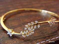 Your place to buy and sell all things handmade - Zirconia Gemstone Cuff Bracelet Women Jewellery Hallmark Gold - Gold Bangles Design, Gold Jewellery Design, Gold Jewelry, Diamond Jewellery, Designer Jewellery, Jewellery Earrings, Handmade Jewellery, Bridal Jewelry, Gold Necklace