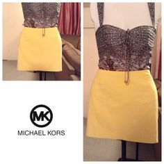 "Michael Kors Skirt Michael Kors Skirt is made of 100% Cotton. Size 4. Color Yellow. Zipper up the left side. Length ""16. Laying flat ""14. This item is NOT new, It is used and has a very small stain on the front bottom. Last photo has been zoomed in to show you this detail. Skirt is in Overall Good condition, Authentic and from a Smoke And Pet free home. All Offers through the offer button ONLY.  Ask any questions BEFORE purchase. Please use the Offer button, I WILL NOT negotiate in the…"