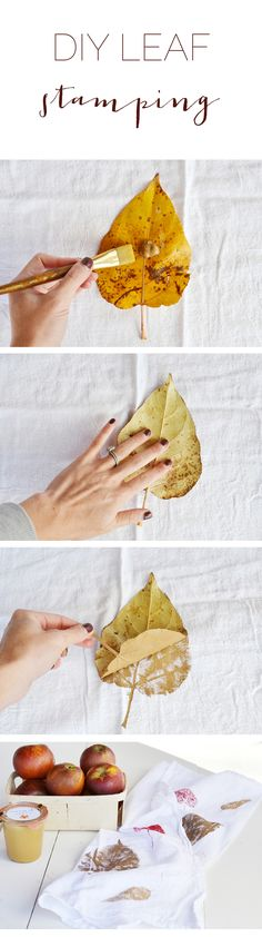 Easy gift idea - leaf stamping on a flour sack. From boxwoodavenue.com