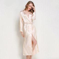88d6ef5ef9 Women Autumn Long Robe Sexy Silk Satin Night Robe Lace Kimono Robe Solid  Bathrobe Long Sleeve Bath Robe Fashion Dressing Gown