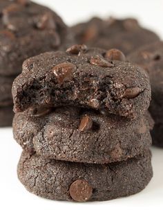 Buckwheat Double Chocolate Cookies | If using buckwheat, these are a cross between a cookie and a brownie. If using whole wheat, they're more like a traditional chewy and fudgy cookie. Either way, they're rich, decadent, and sure to satiate even the most severe chocolate craving! | @TheLemonBowl @texanerinbaking