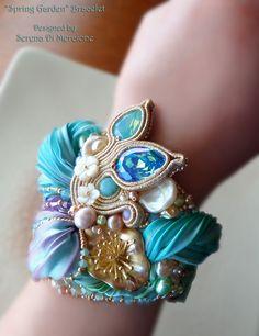 """""""SPRING GARDEN"""" Bracelet --- Design by Serena Di Mercione --- beadembroidery, soutache, shibori silk, swarovski, pearls"""