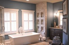 Could we build a niched wall like this in master bath?    contemporary bathroom by Weaver Custom Homes