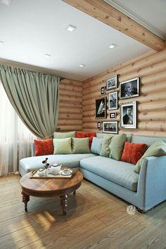 Интерьер деревянного дома. Гостинная