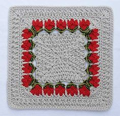 Free tulip granny square pattern: Miss Ineeda Clues Matchmaker pattern by Donna Kay Lacey