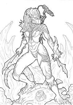 Blade Hunter by Ronniesolano on DeviantArt Aliens, Predator Cosplay, Predator Alien, Alien Character, Alien Concept Art, Dark Art Drawings, Alien Art, Arte Horror, Coloring Book Pages