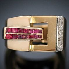 Strong design golden Retro ruby diamond ring