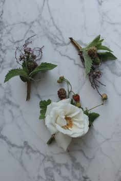 Summer wedding buttonholes with rose, scented geranium leaf, mint, oregano, thyme, baby strawberries & gold thread | Photo by Aesme Flowers