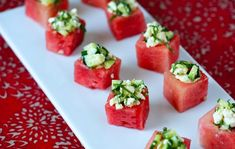Watermelon cubes with celery, feta, cucumber and mint!