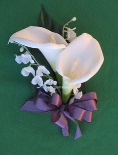 White Calla Lily Mother's Corsage, Wisteria Calla Corsage, Wisteria Corsage on Etsy, $9.00