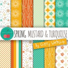 Mustard, Turquoise and Orange Bright Digital Papers - spring summer bloom birds floral scrapbooking cards party supplies {Commercial Use}