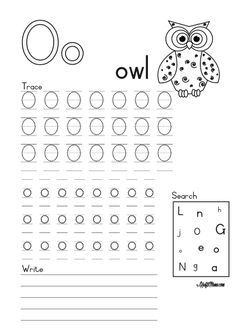 Alphabet Printable O for Owl FREE! • KraftiMama English Grammar Worksheets, Camping Games, Parents As Teachers, Afrikaans, Grade 1, Owl, Printable, School, Free