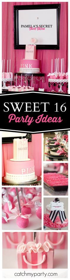 Don' miss this fantastic Victoria's Secret inspired Sweet 16 birthday party! The pink, black and white dessert table is amazing!! See more party ideas and share yours at CatchMyParty.com