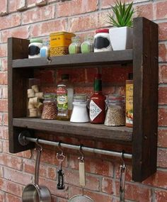 Industrial Rustic Kitchen Wall Shelf Spice Rack with Hooks via Etsy. : Industrial Rustic Kitchen Wall Shelf Spice Rack with Hooks via Etsy. Kitchen Wall Shelves, Kitchen Rack, Wood Wall Shelf, Wood Shelves, Kitchen Decor, Kitchen Wood, Wall Hooks, Kitchen Ideas, Rustic Shelves