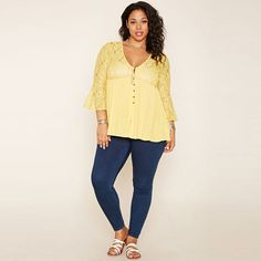 Plus Size Bohemian Casual V-Neck Top